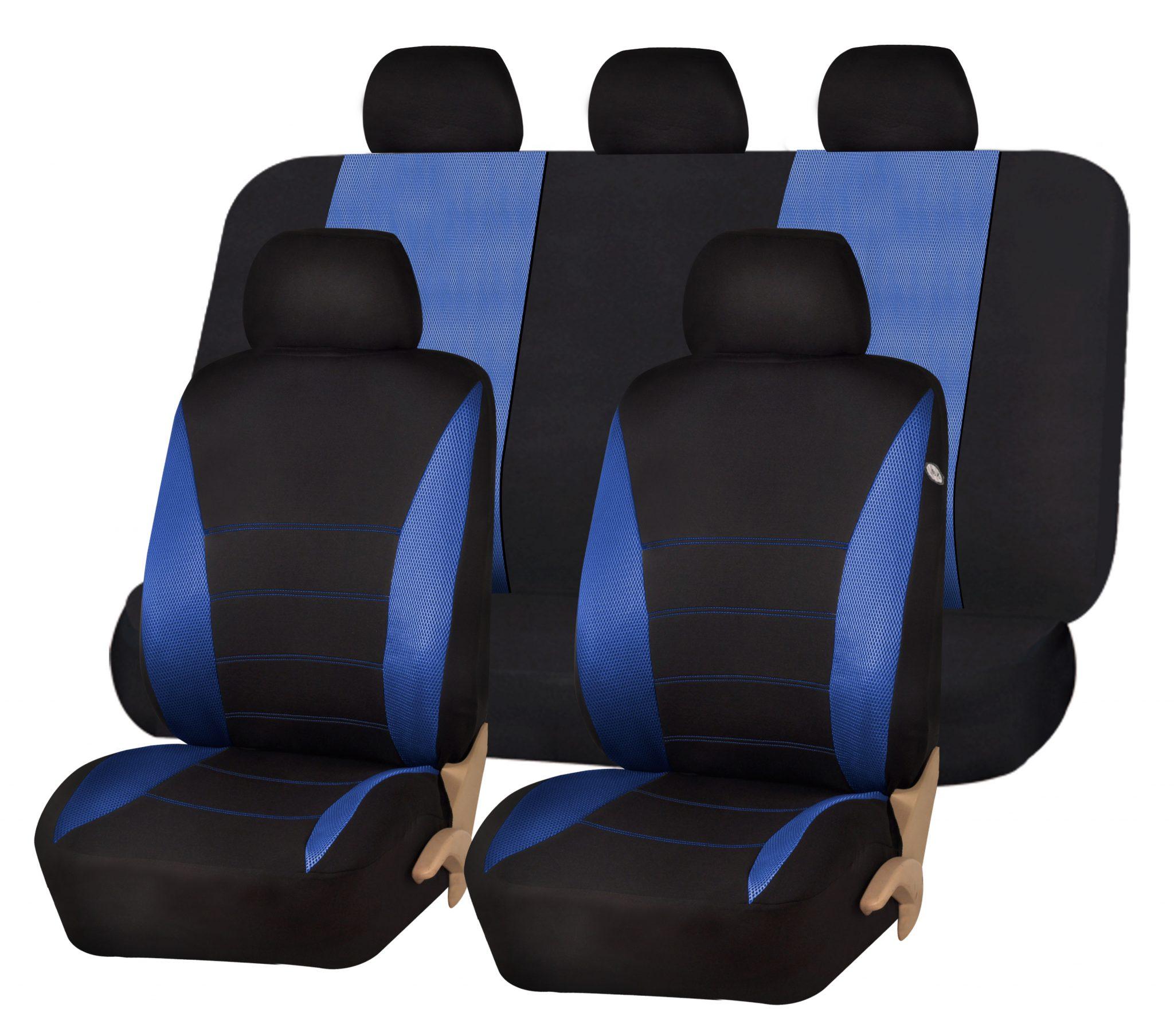 Seat Covers Black Blue Full Set